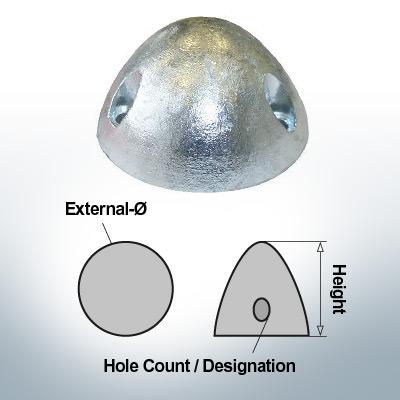 Écrous à trois trous   convient pour DF-80 Ø67/H37 (AlZn5In)   9414