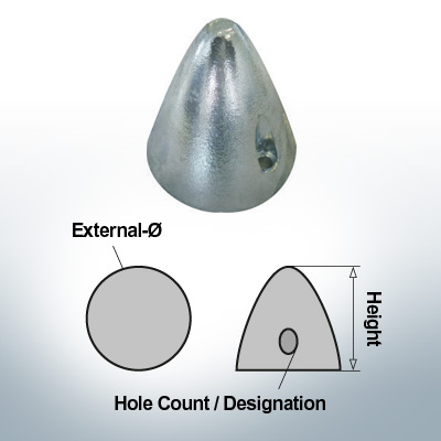 Écrous à deux trous | Boy-Prop Ø70/H70 (AlZn5In) | 9424AL