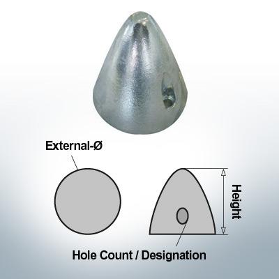 Écrous à deux trous | Boy-Prop Ø70/H70 (Zinc) | 9424