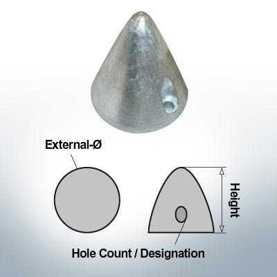 Écrous à deux trous | Boy-Prop Ø58/H58 (AlZn5In) | 9425AL
