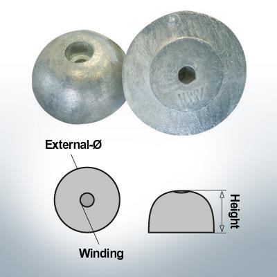 Écrous à un trou | J. Prop Ø60/H27 (Zinc) | 9427