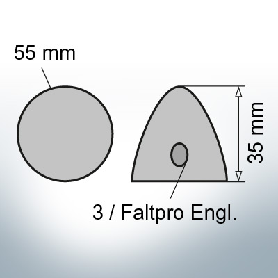 Three-Hole-Caps | suitable for Foldprop Engl. Ø55/H35 (Zinc) | 9444