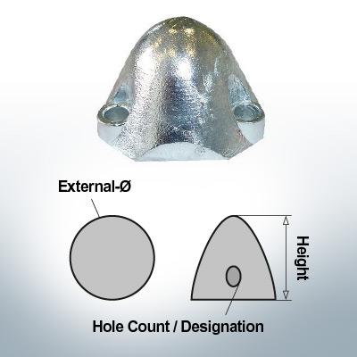 Écrous à trois trous | convient pour Foldprop Engl. Ø55/H35 (AlZn5In) | 9444AL