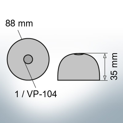One-Hole-Caps   suitable for VP-104 Ø88/H35 (AlZn5In)   9453AL