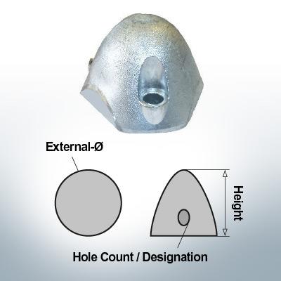 Écrous à trois trous | convient pour Foldprop Engl. Ø68/H45 (Zinc) | 9454