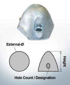 Écrous à trois trous | convient pour Foldprop Engl. Ø55/H45 (Zinc) | 9457