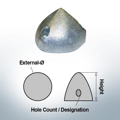 Écrous à trois trous | Max Prop -70 Ø74/H45 (Zinc) | 9601