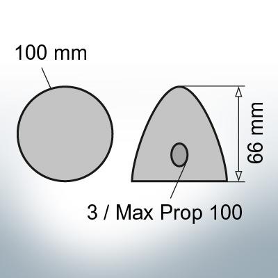 Three-Hole-Caps | Max Prop 100 Ø100/H66 (Zinc) | 9603