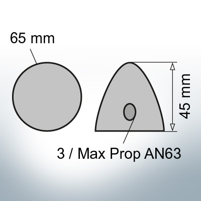 Three-Hole-Caps | Max Prop AN63 Ø65/H45 (Zinc) | 9606