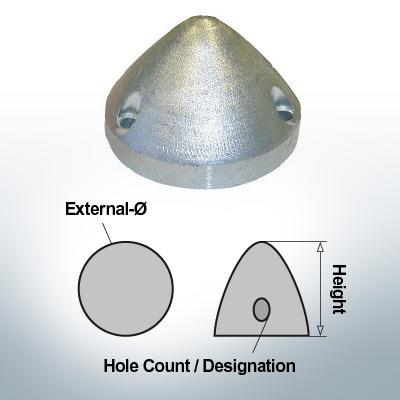 Écrous à trois trous | Max Prop AN70 Ø74/H45 (AlZn5In) | 9607AL