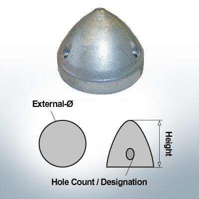 Écrous à trois trous | Max Prop AN83 Ø80/H60 (AlZn5In) | 9608AL