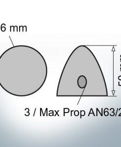 Two-Hole-Caps | Max Prop AN63/2 Ø36/H50 (Zinc) | 9609