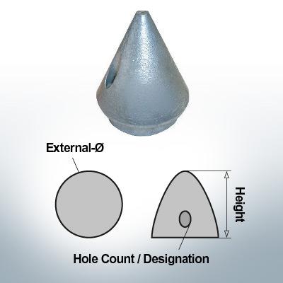 Écrous à deux trous | Max Prop AN63/2 Ø36/H50 (AlZn5In) | 9609AL