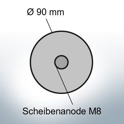 Disk-Anodes with screwhole for M8 thread Ø90 mm (Zinc) | 9822