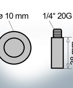 Bolt-Anodes 1/4'' 20G Ø10/L38 (AlZn5In) | 9110AL