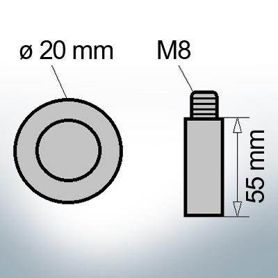 Bolt-Anodes M8 Ø20/L55 (Zinc) | 9112