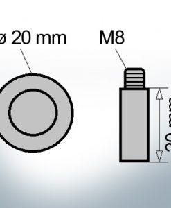 Bolt-Anodes M8 Ø20/L20 (Zinc) | 9114