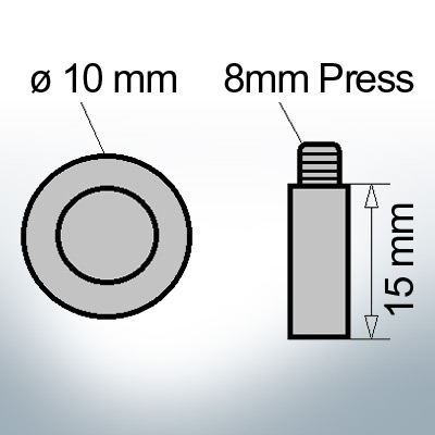 Bolt-Anodes 8mm Press Ø10/L15 (Zinc) | 9117