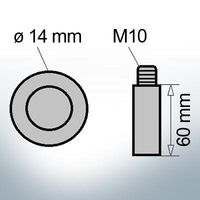 Bolt-Anodes M10 Ø14/L60 (Zinc)   9123