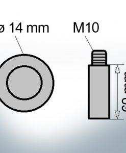 Bolt-Anodes M10 Ø14/L60 (AlZn5In)   9123AL