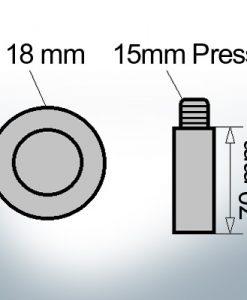 Bolt-Anodes 15mm Press Ø18/L70 (AlZn5In)   9126AL