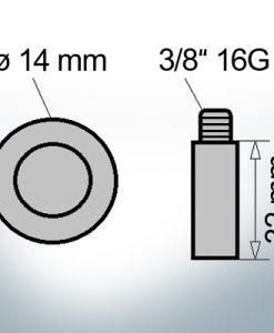 Bolt-Anodes 3/8'' 16G Ø14/L32 (AlZn5In)   9131AL