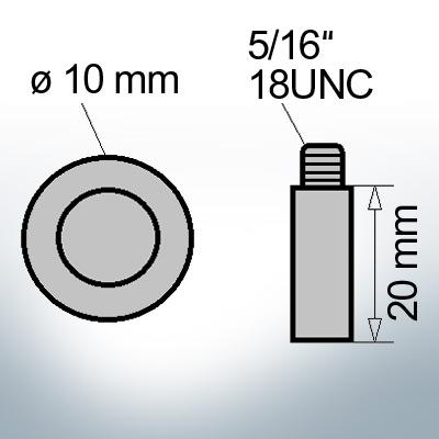 Bolt-Anodes 5/16'' 18UNC Ø10/L20 (AlZn5In) | 9133AL