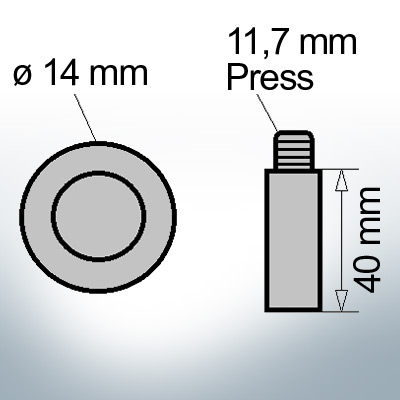 Bolt-Anodes 11,7 mm Press Ø14/L40 (Zinc) | 9134
