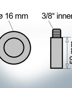 Bolt-Anodes 3/8'' innen Ø16/L50 (AlZn5In) | 9136AL