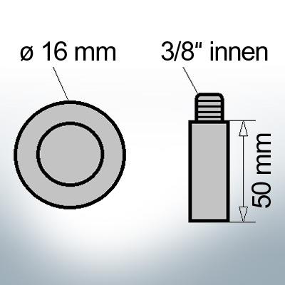 Bolt-Anodes 3/8'' innen Ø16/L50 (Zinc)   9136