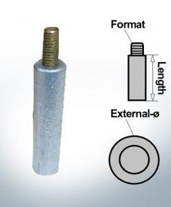 Anodes à ergot 5 mm broche Ø10/L20 (Zinc) | 9144
