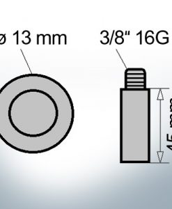 Bolt-Anodes 3/8'' 16G Ø13/L45 (AlZn5In)   9143AL