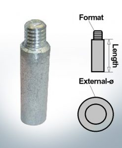 Embout 3/8'' pour anodes à broches Ø18/L70 (AlZn5In) | 9147AL