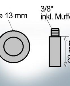 Bolt-Anodes 3/8'' inkl. Muffe Ø13/L60 (AlZn5In) | 9150AL