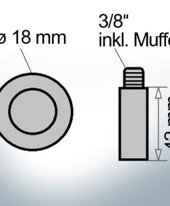 Bolt-Anodes 3/8'' inkl. Muffe Ø18/L42 (Zinc) | 9152