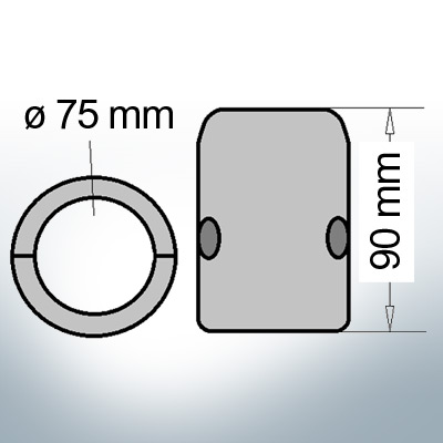Shaft-Anode with metric inner diameter 75 mm (AlZn5In) | 9012AL