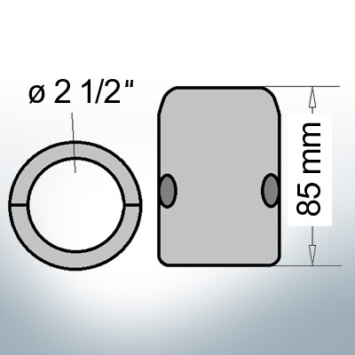 Shaft-Anodes with imperial inner diameter 2 1/2'' (Zinc)   9022