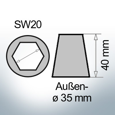 Shaftend-Anodes with hexagon socket SW20 (Zinc)   9461