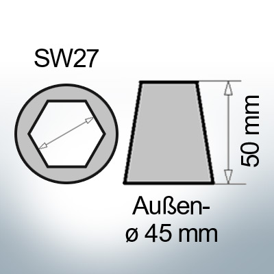 Shaftend-Anodes with hexagon socket SW27 (Zinc)   9462