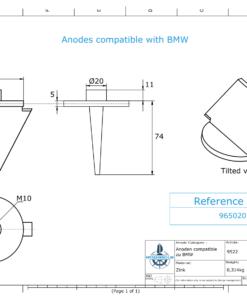 Anodes compatibles BMW   Petite anode à clapet 965020236 (Zinc)   9522